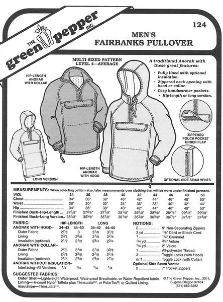 Sewing pattern for Anorak Coat Pattern for Men by the