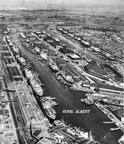 the royal albert and king george v docks. the working