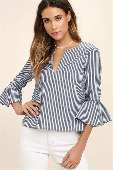 chic blue and white striped top striped blouse bell