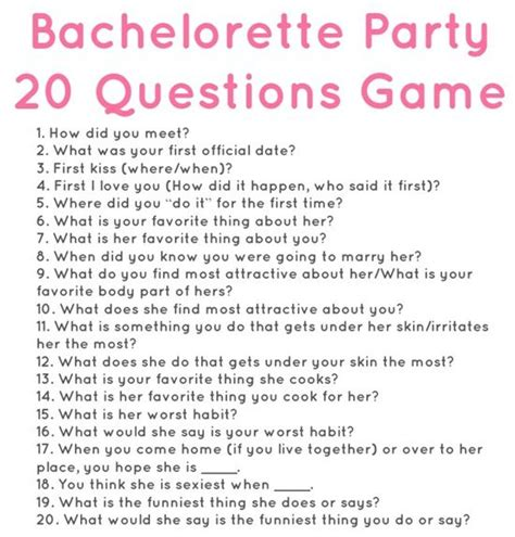 Questions To Ask Husband To Be For Bridal Shower by 20 Questions For A Bachelorette So Via Meals