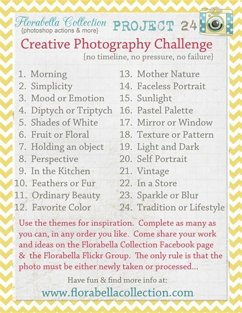 themes for photo challenges photo challenge list photography pinterest