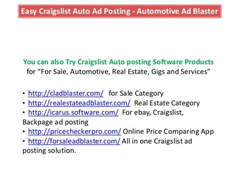 Automotive As Blatser Craigslist Auto Posting Software For Cars And V Craigslist Car Posting Template