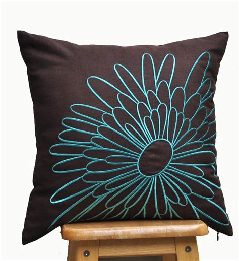 brown teal pillows throw pillow cover decorative pillow cover brown