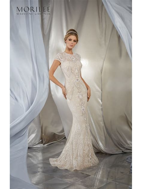 beaded bridal gown mori lee 6869 musidora gatsby beaded sheath style bridal gown