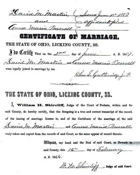 Marriage License Ohio Records Usgenweb Archives County Ohio