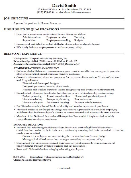 human resources objective statement resume for a human resources generalist susan ireland