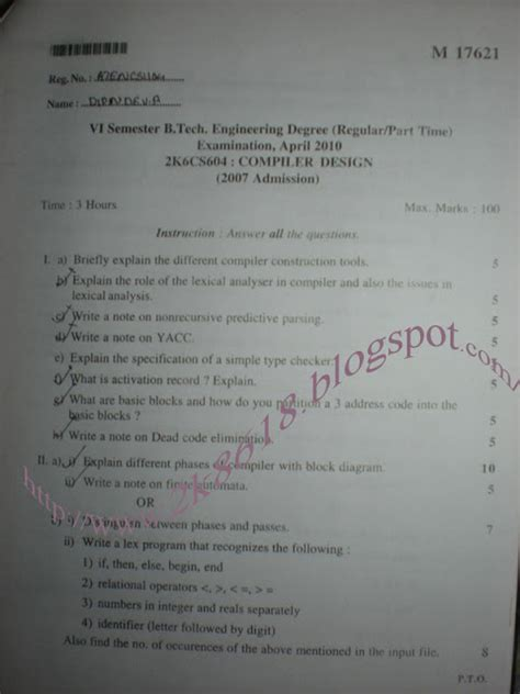 compiler design lab questions and answers compiler design previous question paper semester 6