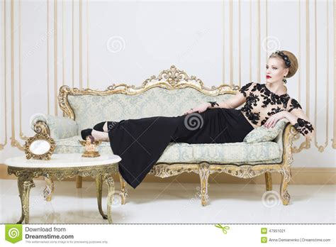 Sofa Dress by Beautiful Royal Laying On A Retro Sofa In
