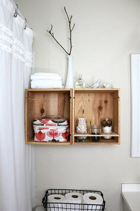 Diy Wine Crate Holders In The Bathroom Decoist Diy Bathroom Shelves