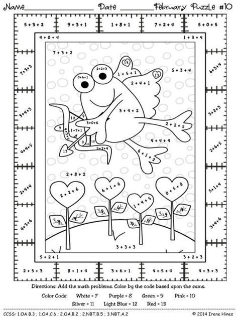 Addition Coloring Page 2nd Grade by 2nd Grade Math Color By Number Coloring Pages Math