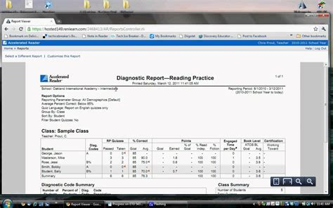 ar book report accelerated reader class diagnostic report