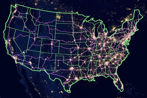 map usa lights light map of usa overlay with interstate routes maps