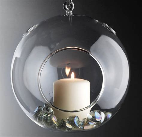 Flat Candle Holders by Flat Bottom 7 Quot Clear Hanging Glass Balls Candleholder