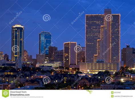 city of fort worth street lights cityscape of fort worth texas at night stock image image
