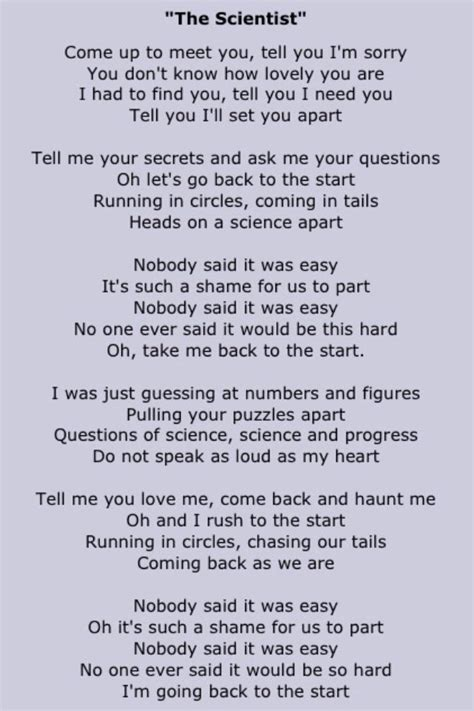 coldplay the scientist lyrics coldplay lyrics and phrases from coldplay pinterest