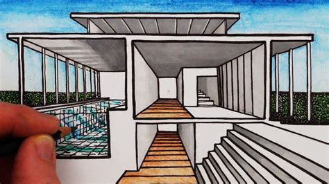 one point perspective house how to draw a house in 1 point perspective sectional perspective youtube