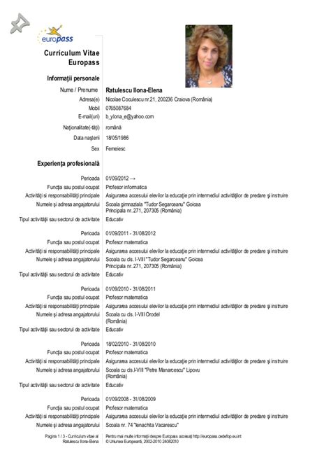 curriculum vitae model in model cv european romana