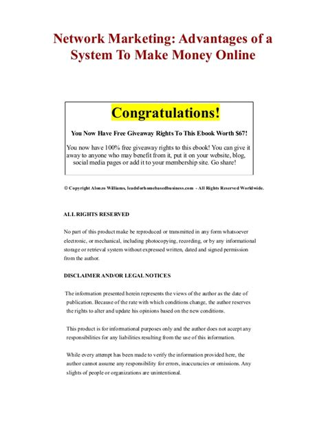 network marketing advantages of a system to make money online - Free System To Make Money Online