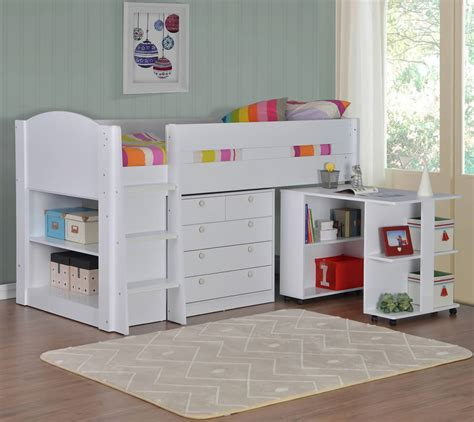 White Mid Sleeper Bed by Frankie White Mid Sleeper Bed With Storage