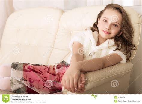 little girl couches fashion little girl on sofa royalty free stock image