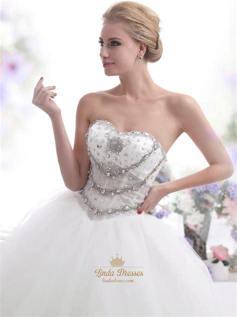 beaded bodice tulle skirt wedding dress ivory sweetheart strapless beaded bodice wedding dress