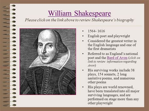 biography of english poet william shakespeare lights camera action shakespeare on film ppt video