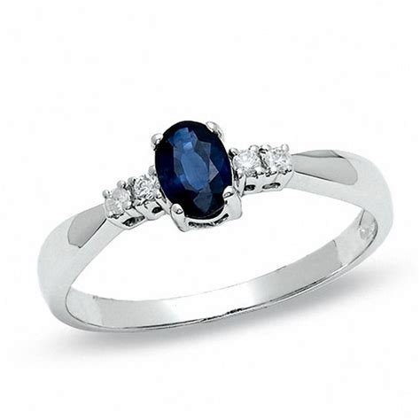 oval blue sapphire engagement engagement ring in 10k white