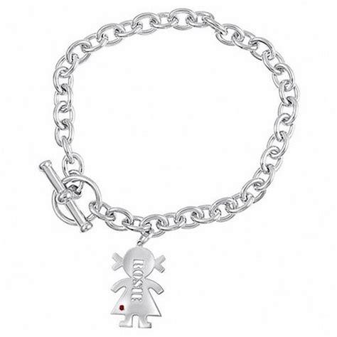 s name birthstone charm bracelet in sterling silver