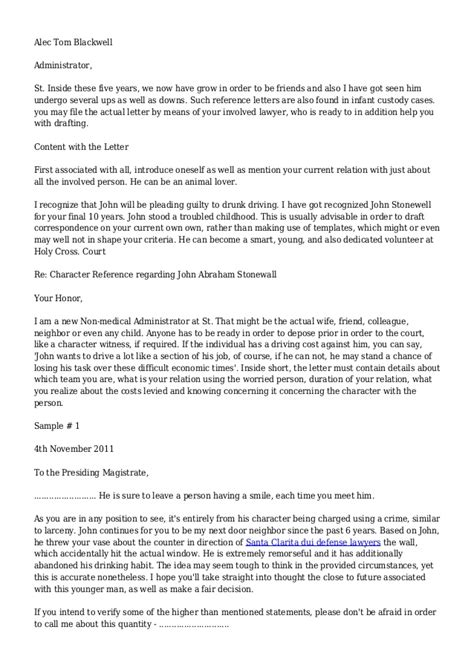 Reference Letter For Court Drink Driving Character Reference Letters For Court Appearances