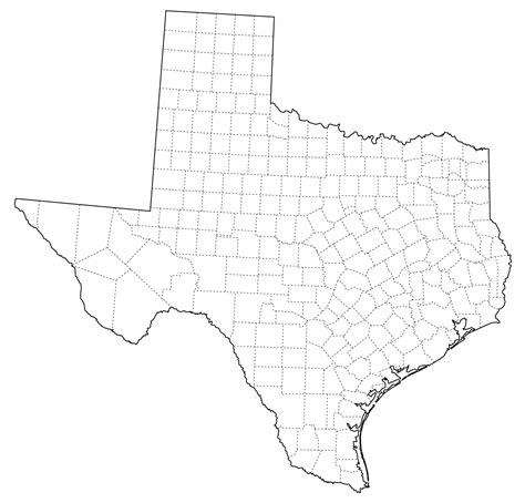 texas map with county lines tx