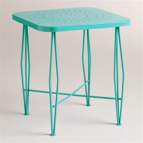Outdoor Side Table Blue Metal Alyssa Hairpin Outdoor Side Table World Market