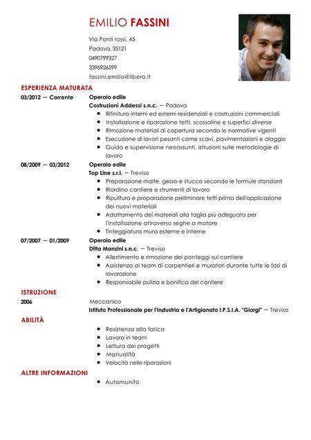 curriculum vitae assistente alla poltrona curriculum vitae operaio edile modello livecareer