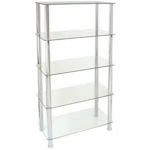 hartleys 75cm 5 tier glass shelf unit