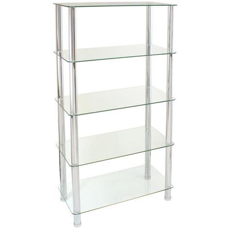 5 Shelf Unit by Hartleys 75cm 5 Tier Glass Shelf Unit
