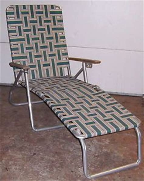 Webbing For Lawn Chairs Retro Wood Arms Vintage Webbed Folding Aluminum Lawn Chair
