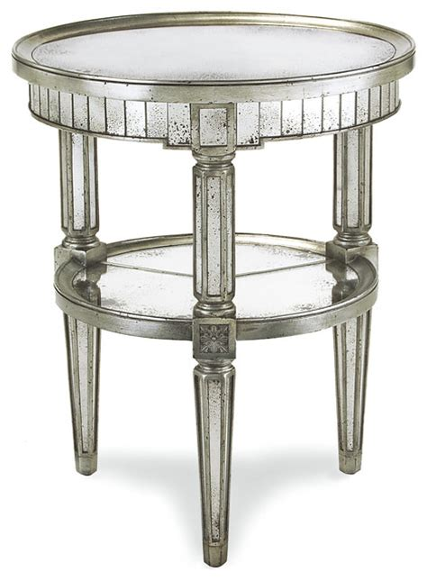 Silver Side Table Joelle Regency Antique Silver Leaf Mirror Side End Table Transitional Side