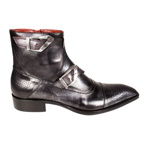 jo ghost s designer shoes metallic black leather boots