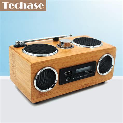 Speaker Mini Hifi techase bamboo speaker mini wierelss hifi sound speakers support fm radio usb tf card aux in for