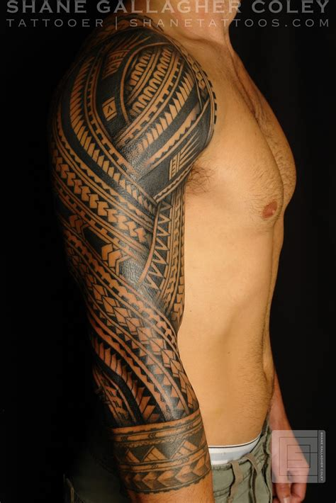 shane tattoos polynesian sleeve