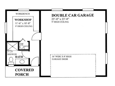 garage shop floor plans 2 car garage plans two car garage plan with workshop design 010g 0014 at thegarageplanshop
