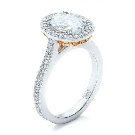 Two Tone Halo Engagement Ring - custom princess cut engagement ring 102272