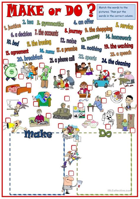 new pattern english school make or do collocations worksheet free esl printable