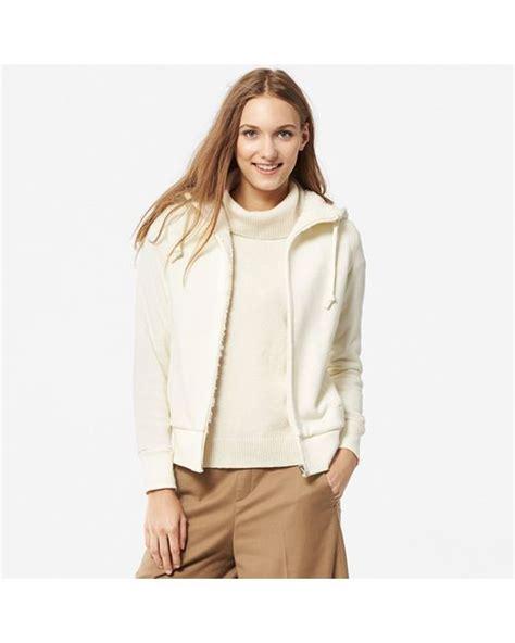 Uniqlo Oversized Hooded Sweat Jacket uniqlo faux shearling sweat zip hooded jacket in beige white lyst