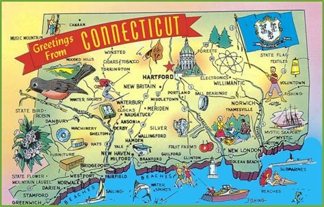 usa connecticut map illustrated tourist map of connecticut