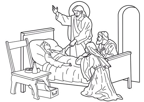 imagenes de la vida de jesus para pintar image coloring jesus restoring life to a little girl