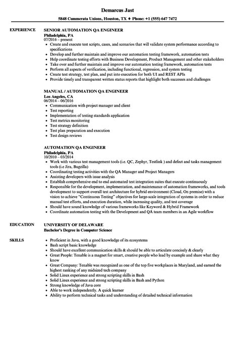 quality engineer resume format automation qa engineer resume sles velvet