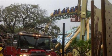 riders stuck on roller coaster at busch gardens as