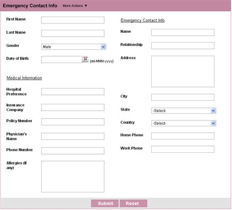 emergency contact form template form personal information new calendar template site