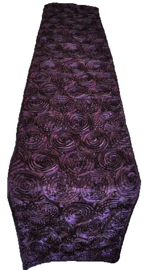 eggplant rosette satin table runners
