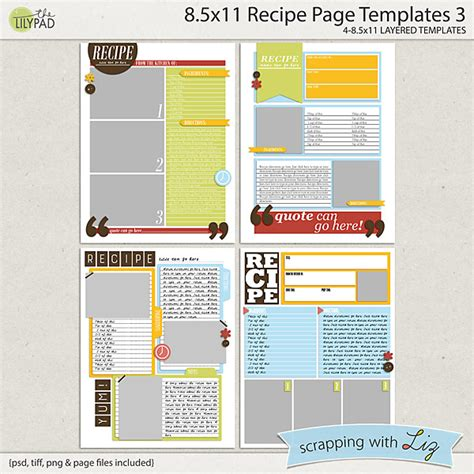 greeting card template 8 5x11 pdf quarter fold digital scrapbook templates 8x11 recipe page 3